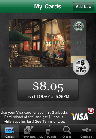 Starbucks mobile payment screen