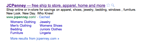 JC Penney search result