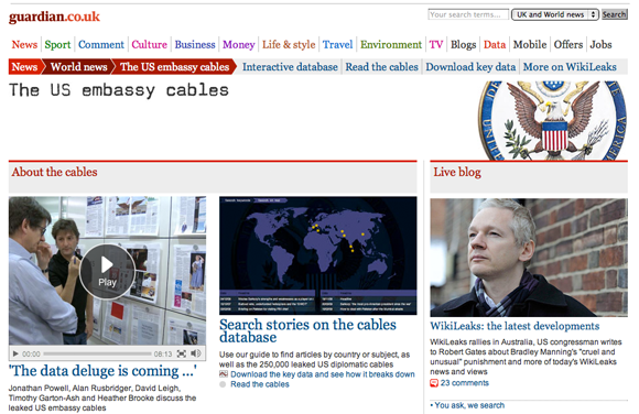 The Guardian's coverage of the WikiLeaks cables