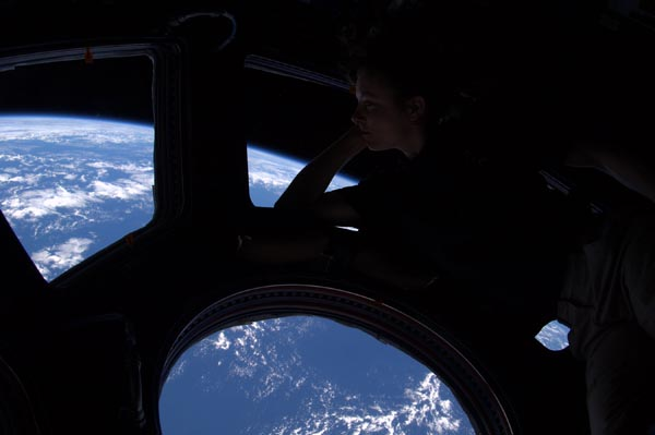 Tracy Caldwell Dyson in the Cupola module of the International Space Station