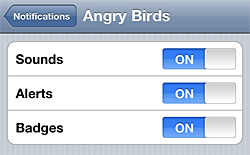 Angry Birds notifications