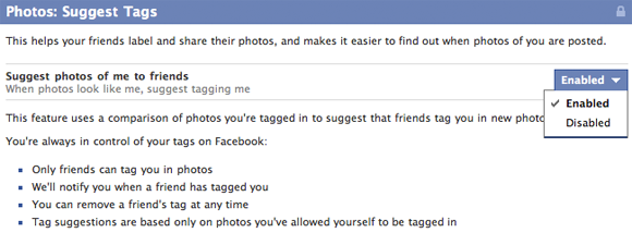 Facebook suggest tags option