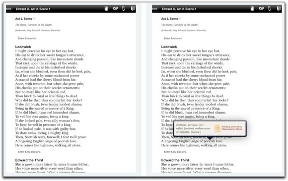 Embedded glossary in the Shakespeare Pro iPad app