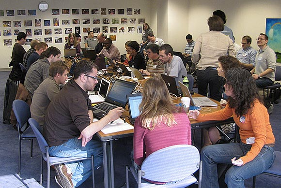 Volunteers work on projects at the second Crisis Camp Haiti at NPR headquarters in Washington, D.C.