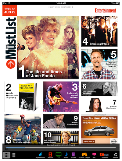 TOC for Entertainment Weekly's Must List app