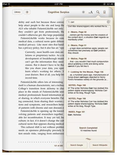 iBooks iPad app's inside-the-ebook search tool