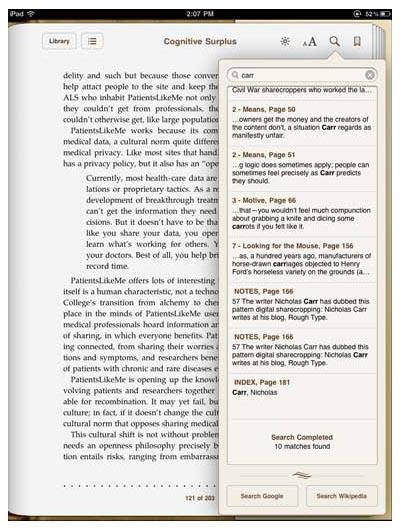 iBooks iPad app's inside-the-ebook search tool