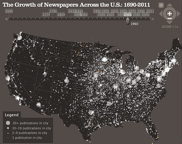Screen from the Stanford University Rural West Initiative newspaper visualization