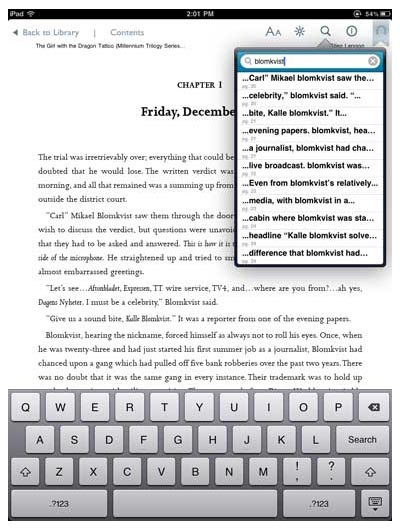 The Nook iPad app's inside-the-ebook search tool
