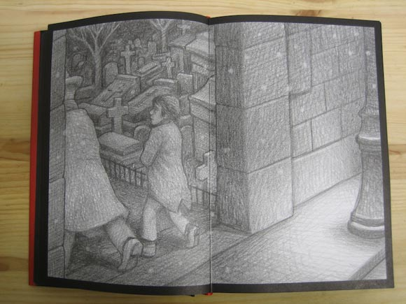 illustration from Hugo Cabret showing a cemetery