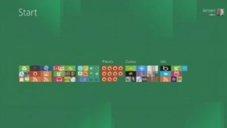Start screen app icons in their birdseye view