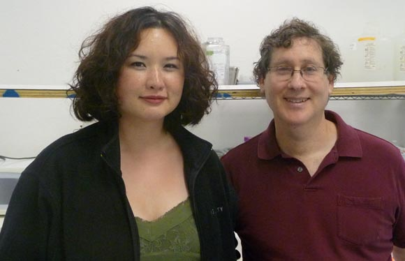 Eri Gentry with Andy Oram in lab