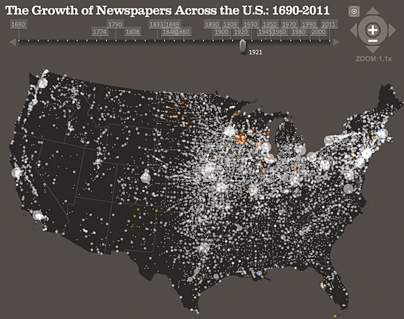 Journalism's Voyage West - The growth of Newspapers Across the US: 1690-2011