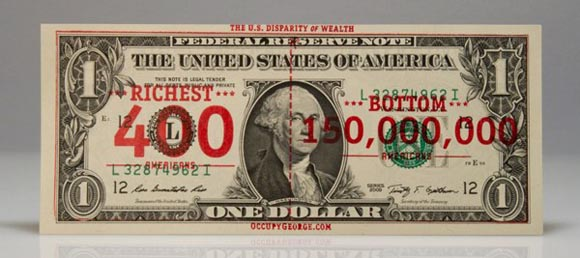 Occupy George $1 bill, front
