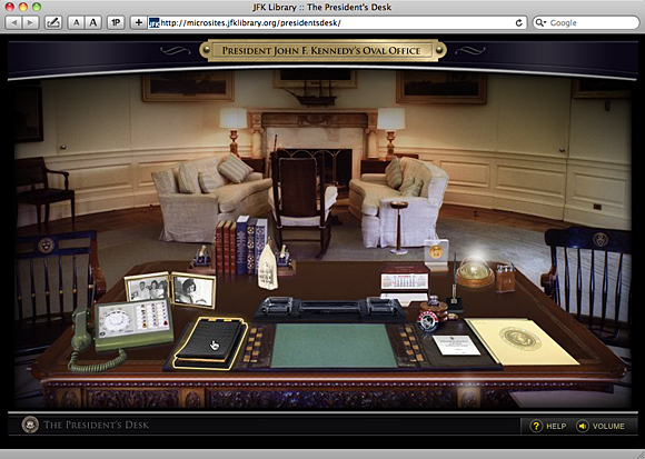 The President's Desk uses glowing starbursts to signal hyperlinked objects