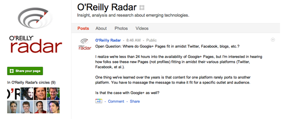 O'Reilly Radar on Google Plus