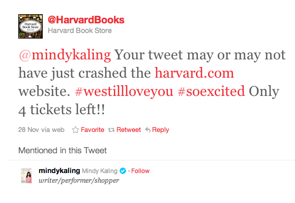 Harvard Book Store tweet to Mindy Kaling