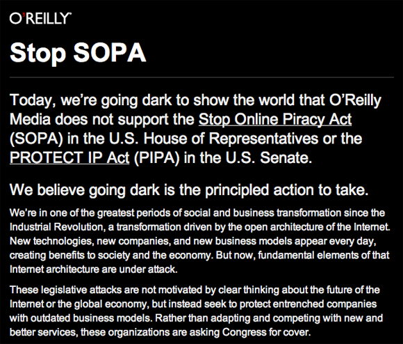 Screenshot of message on O'Reilly websites on Jan 18 2012